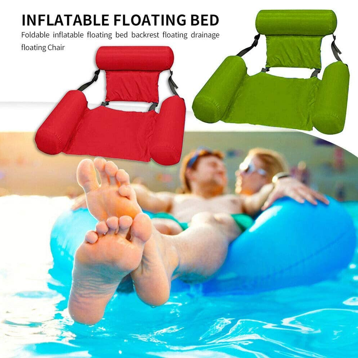 Water Lounge Chair Summer Swimming Inflatable Foldable Floating Row Backrest Air Mat Party Pool Toy 6