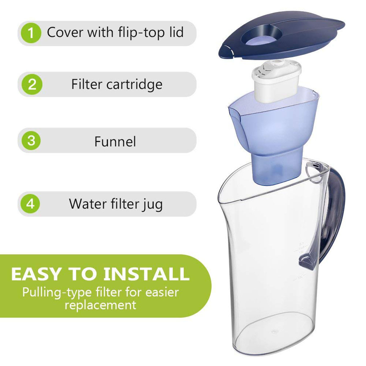 Net activated carbon filter kitchen water purifiers kettle 2.5L kettle tap USA
