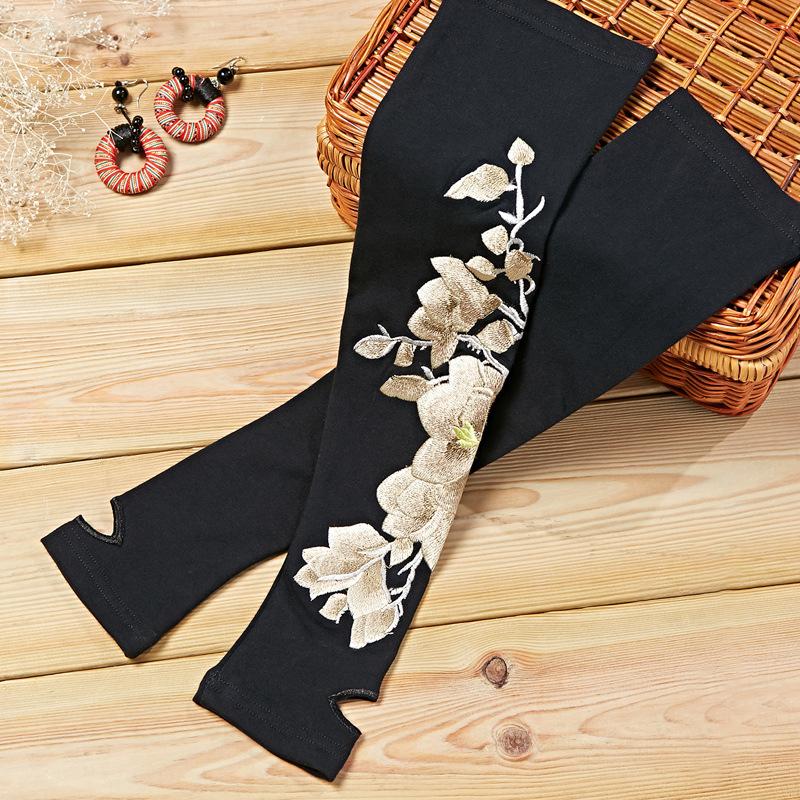 Женское Кашемир вышитые цветы полу пальца запястье Перчатки