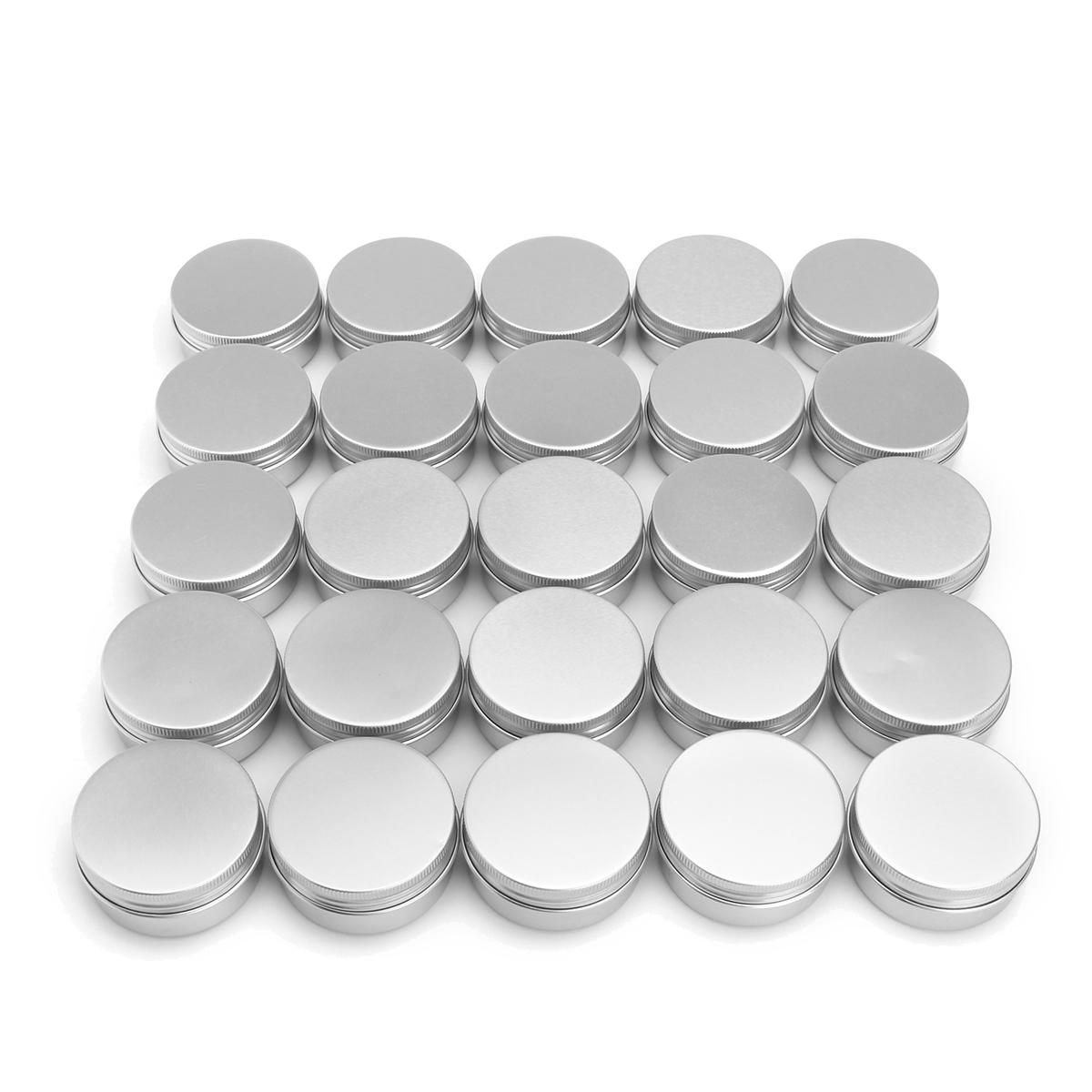 b534b82b9cd4 24Pcs 50G Aluminum Round Empty Jar Tin Screw Top Lid Cosmetic Sample  Storage Container