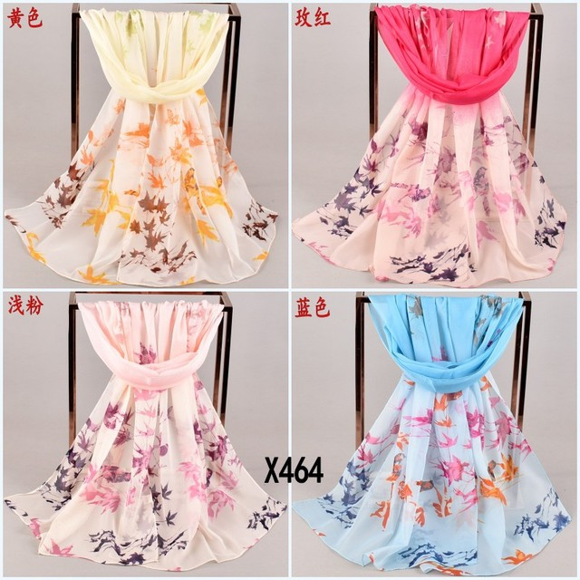 19 New Transition Leaves Small Magpie Chiffon Printed Silk Scarf Yiwu Long Small Scarf