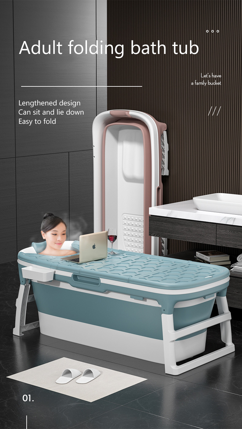 Xiaoshutong 138/117CM Portable Folding Adult Bathtub Surround Lock Temperature Anti-slip Isolation Layer with Enlarged Space Design Sauna for Bathroom 1