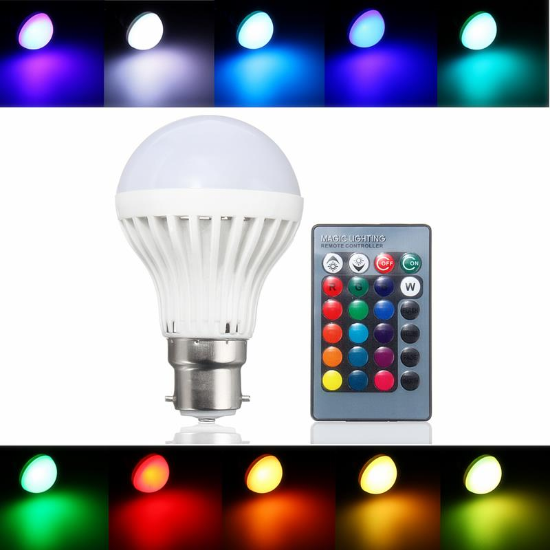 B22 3W RGB 16 Color Changing LED Spot Light Lamp Bulb Remote Control AC85-265V