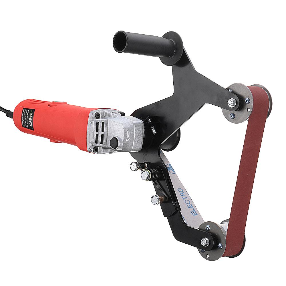 Drillpro Grinder Pipe and Tube Belt Sander Attachment Stainless Steel Metal Wood Sanding Belt Adapter for 115 125 Angle Grinder