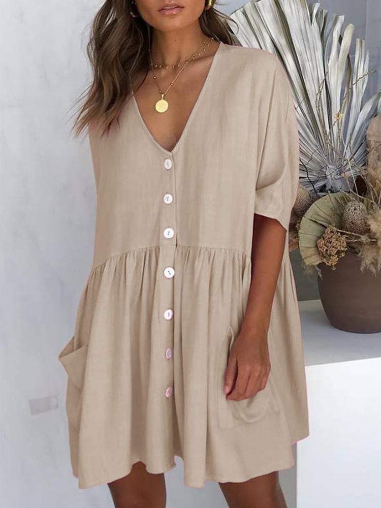 Eachine1 / Damen Mini-Knopfleiste Kleid