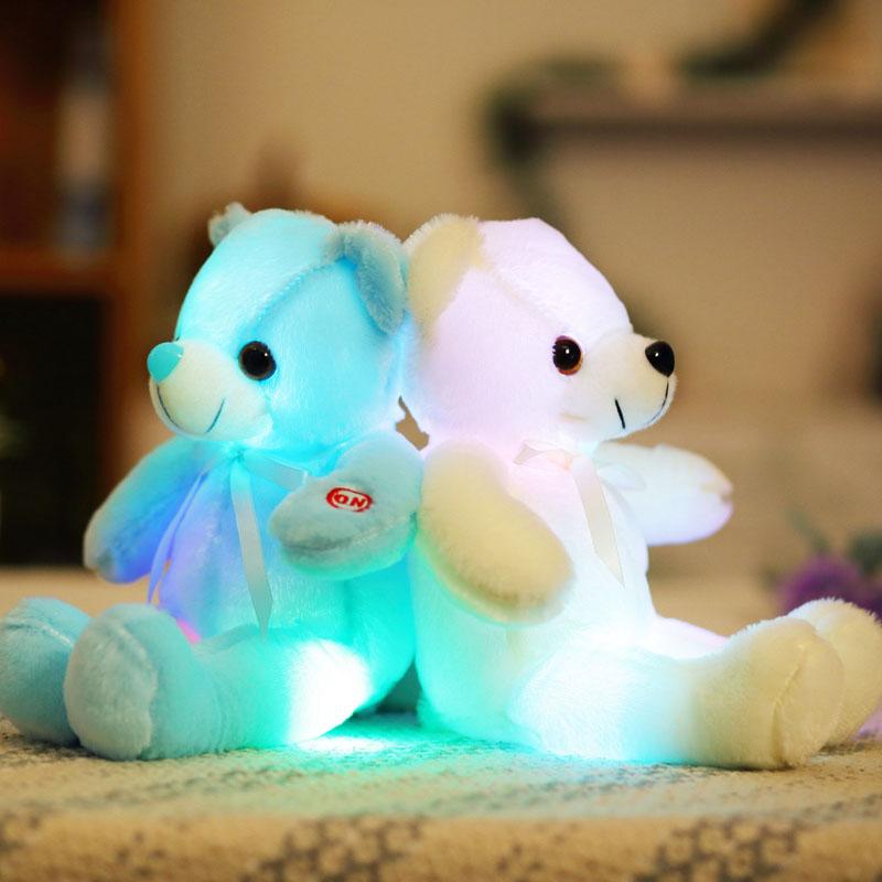 32смМаленькийСветодиодныйИгрушкиПлюшевыемигающие игрушки медведя Светящиеся подушки фаршированные Soft Животные Кукла фото