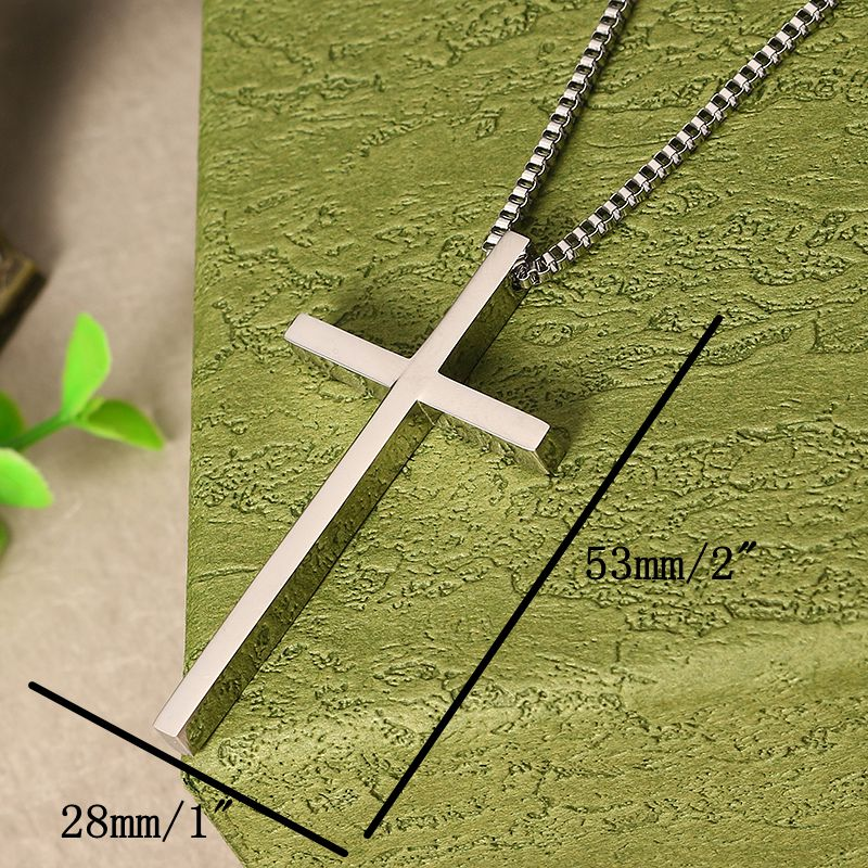 Stainless Steel Cross Pendant  Silver Necklace Chain