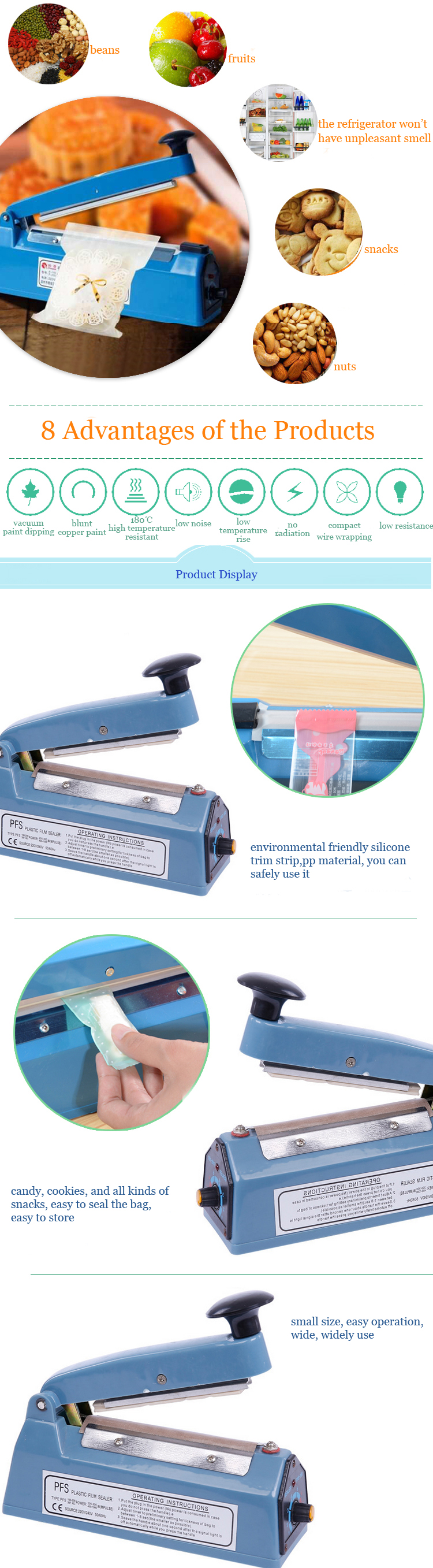 220V Electric Manual Bag Sealer Sealing Machine Food Tea Plastic Bag Heating Sealing Machine