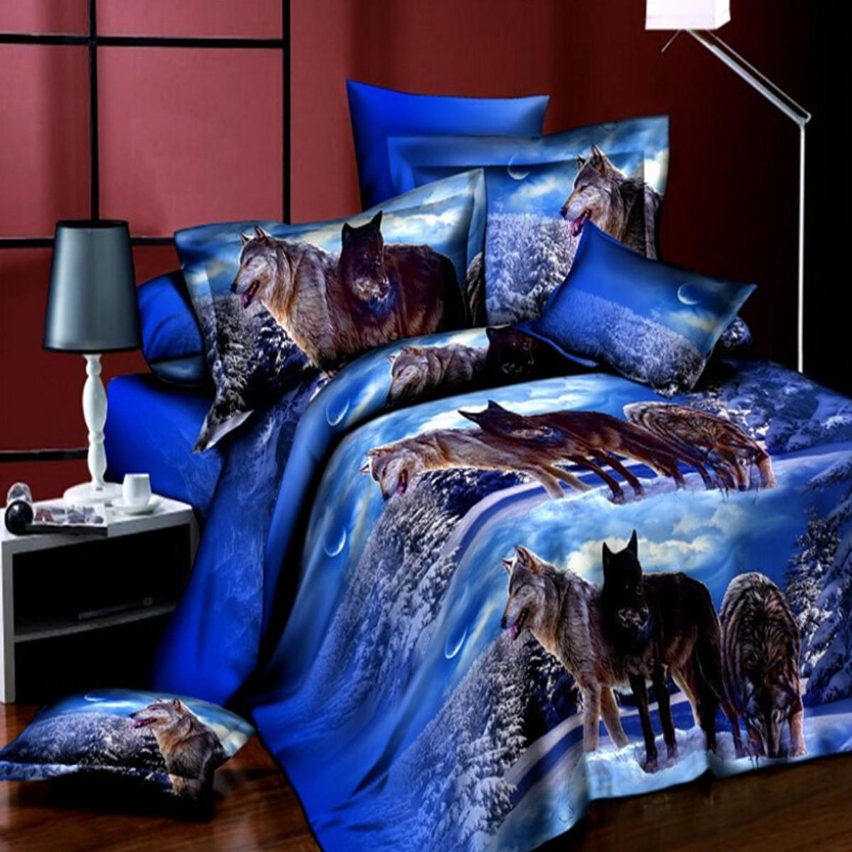 4шт костюм размер 3d снежное поле волк реактивной крашение полиэфирных волокон комплекты постельных принадлежностей королева