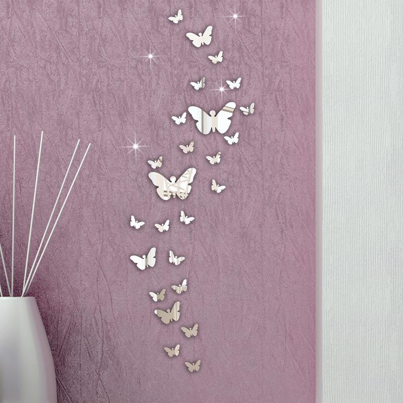 Honana DX-Y5 30PCS бабочка сочетание 3D зеркало стены наклейки Home Decor DIY украшения комнаты