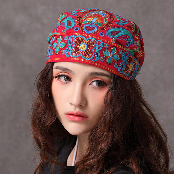 Women Navy Vintage Beanie Hat Ethnic Embroidery Flowers
