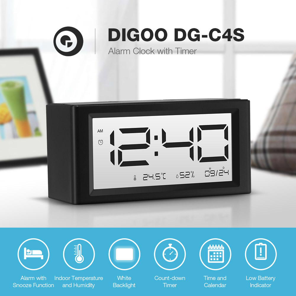 [2019 Third Digoo Carnival] Digoo DG-C4S Calendar Count-down Timer Snooze Function Alarm Indoor Temperature Humidity White Backlight Day Night Display Alarm Clock