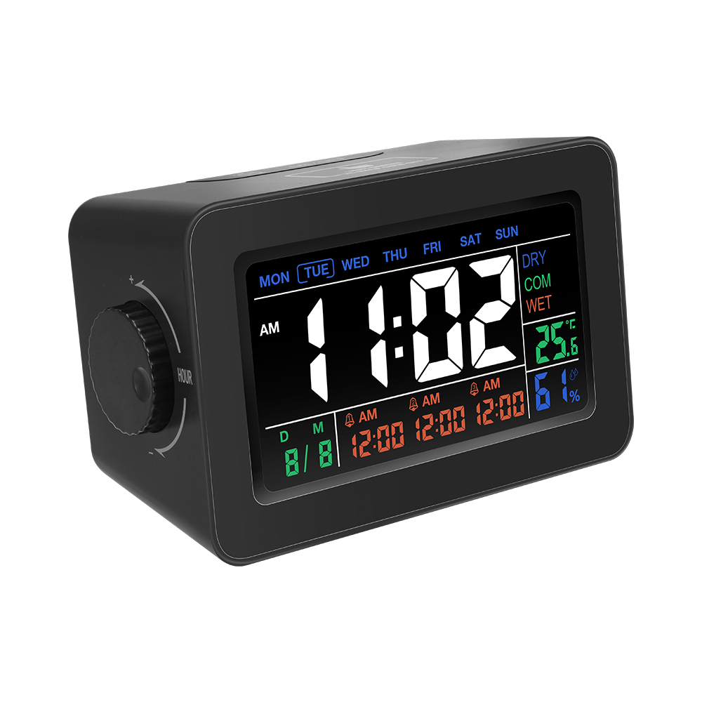 [2019 Third Digoo Carnival] Digoo DG-C1R 2.0 NF Brother Black Simplified Alarm Clock Touch Adjust Backlight with Date Temperature Humidity Display