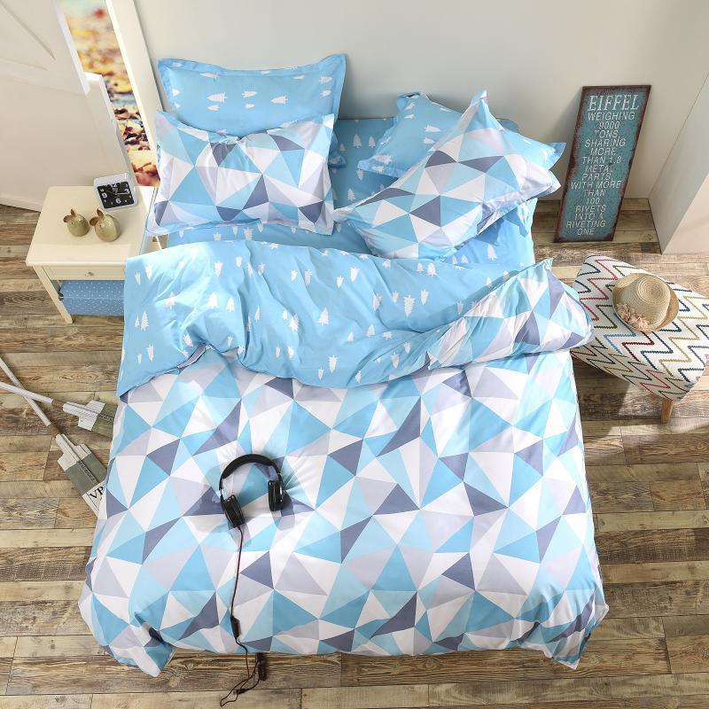 3 или 4шт костюм синий геометрический узор реактивного крашения полиэфирного волокна наборы постельных принадлежностей две королевы в пол
