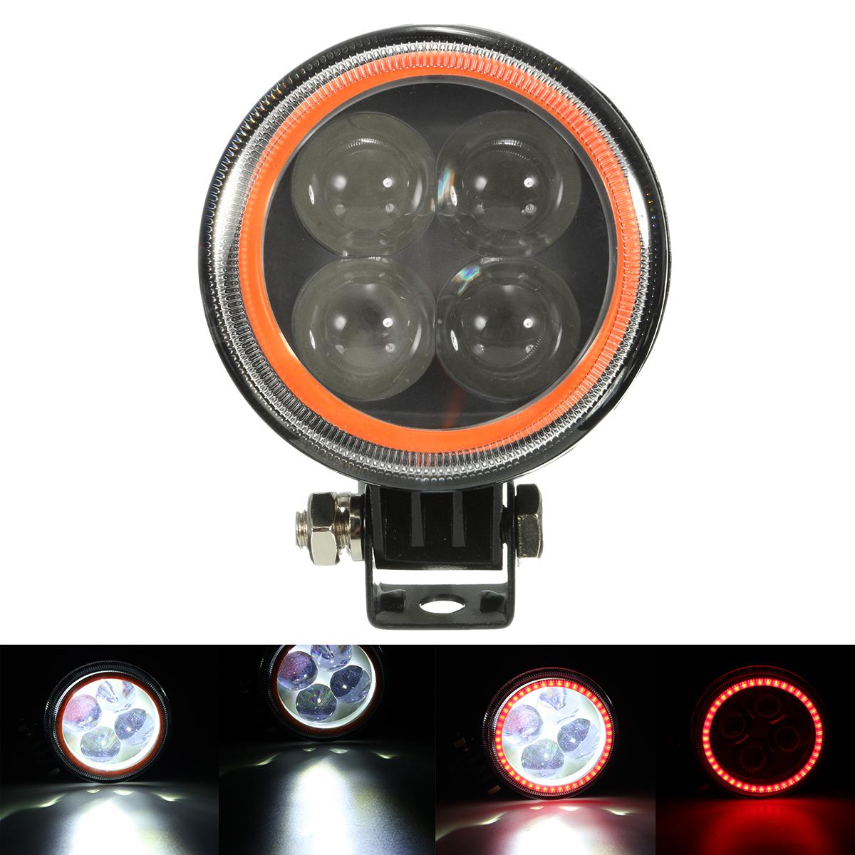 9V-30V 12V rund LED Hi / Lo Beam Arbeitslicht mit RGB Angel Halo Spot Scheinwerfer