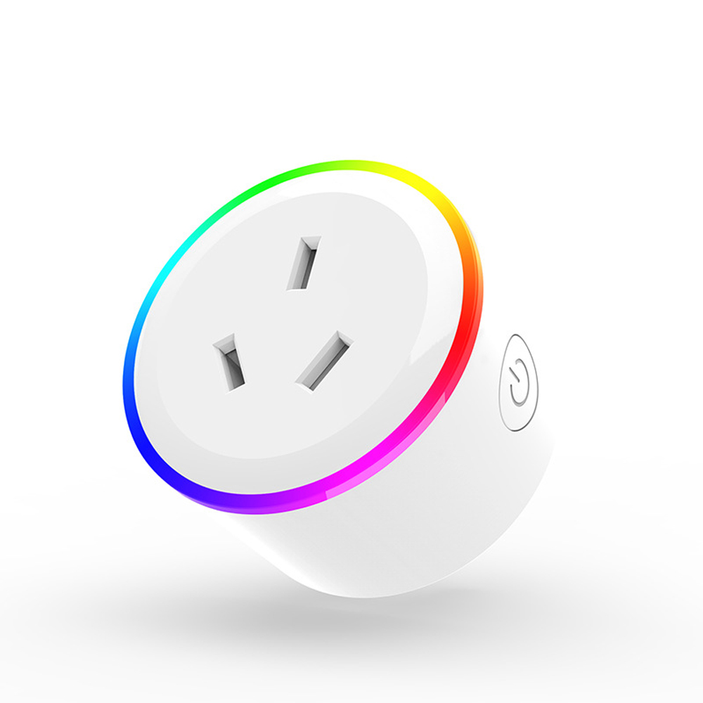 XS-A17 AC100-240V 10A AU Plug WIFI Control Socket Wireless Timer Switch Outlet With RGB LED Light Voice Control Works With Alexa Google