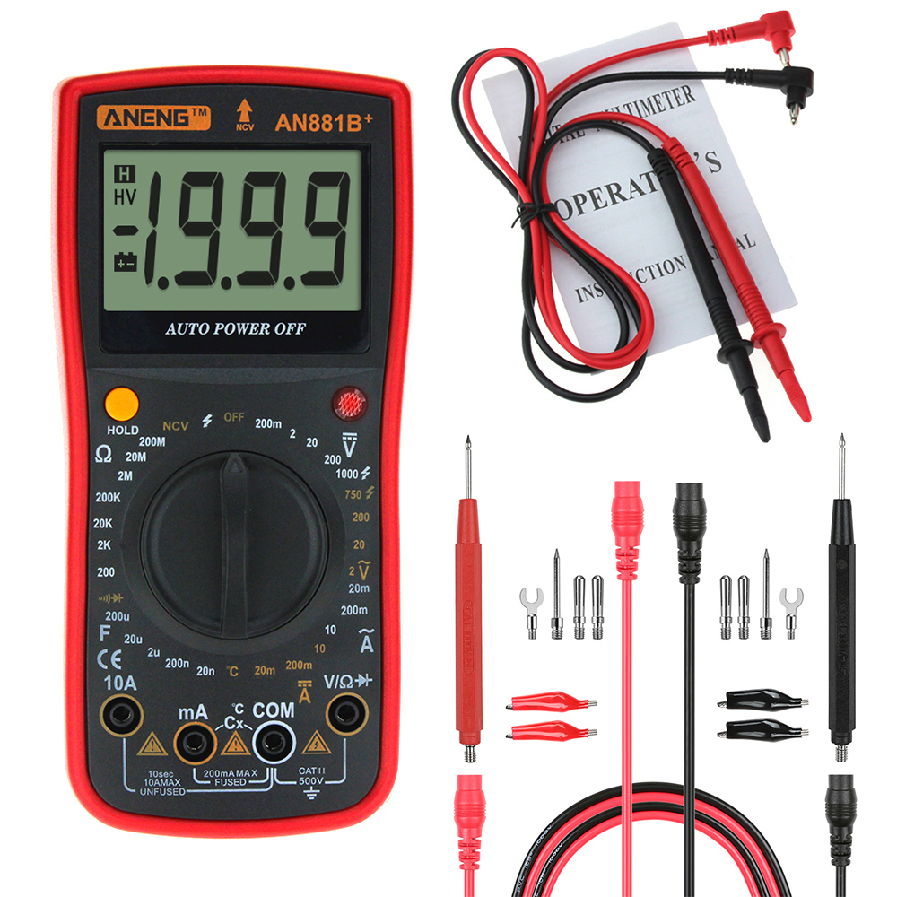 ANENG AN881B+ Digital Multimeter AC DC Voltage Current Capacitance Resistance Temperature Diode Triode Tester Non-contact Voltage Test + 16 in 1 Multifunctional Test Line
