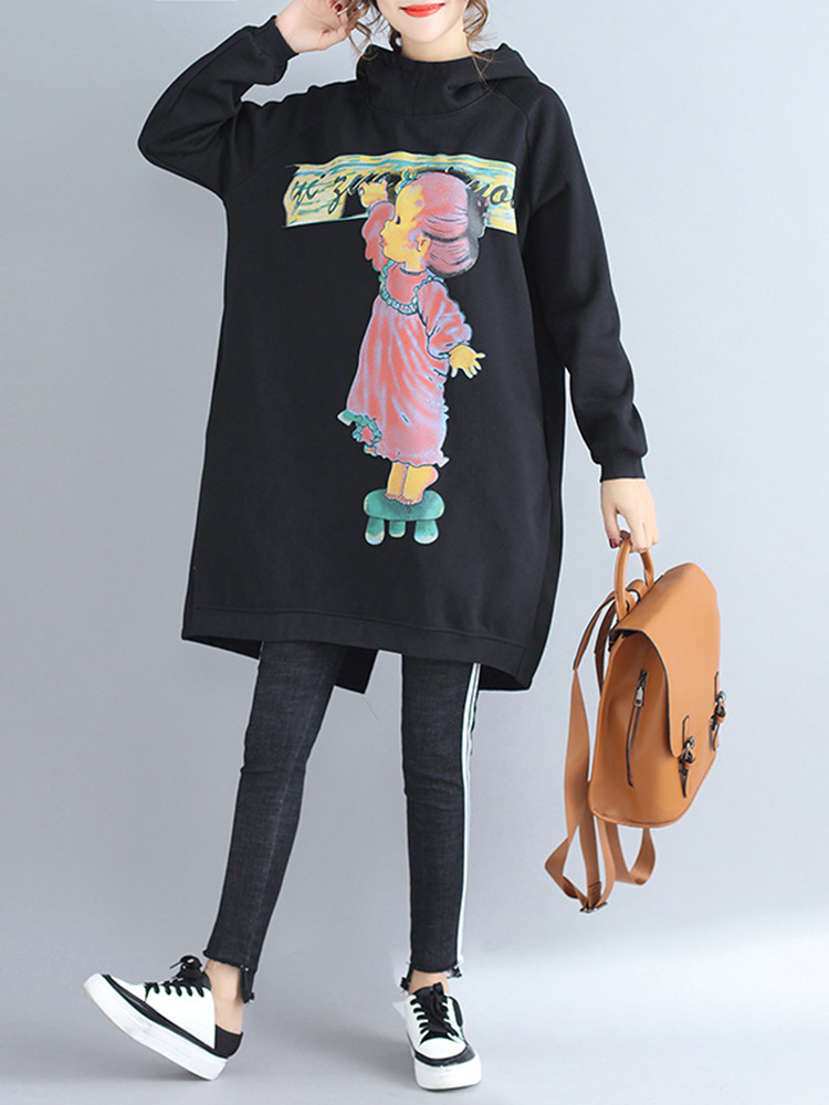 Plus Size Casual Women Cartoon Printed Hooded Thick Sweatshirts