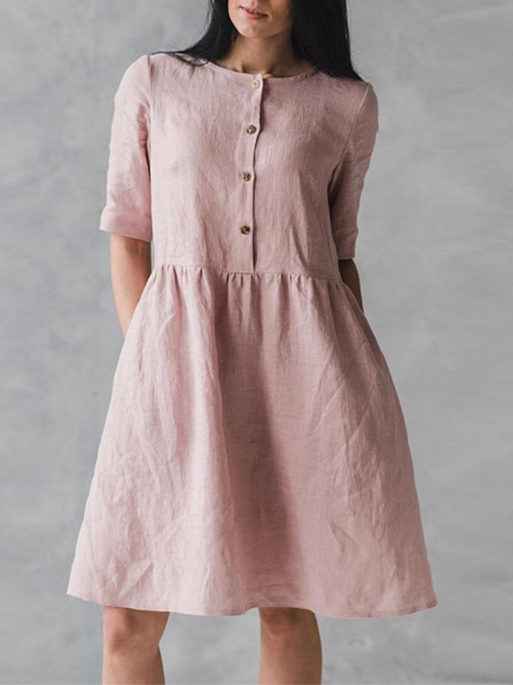 Винтаж Рубашки с коротким рукавом Карманы Хлопчатобумажные ткани Платье