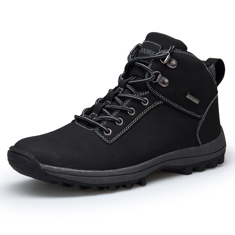 Мужская зимняя снег Ботинки На открытом воздухе Мода Тапки Теплая подкладка Нескользящая скалолазание