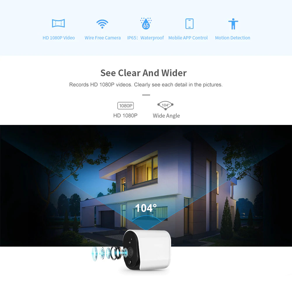 Xiaovv L3 Plus Smart 1080p Battery Onvif Support Waterproof IP Camera 2.4G WiFi Wireless IP66 Waterproof IP Outdoor Camera Indoor Home H.265 Baby Monitor (Without Battery) 10