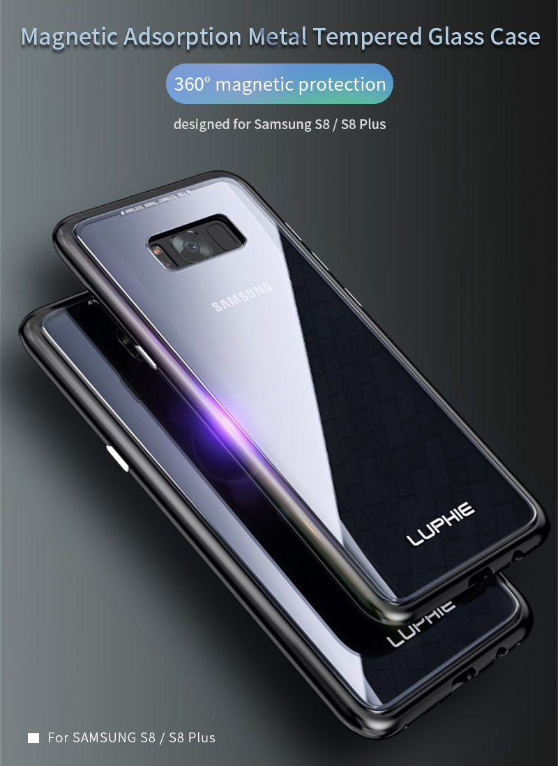 new style 96170 5a0b6 Luphie Magnetic Adsorption Aluminum Tempered Glass Protective Case For  Samsung Galaxy S8