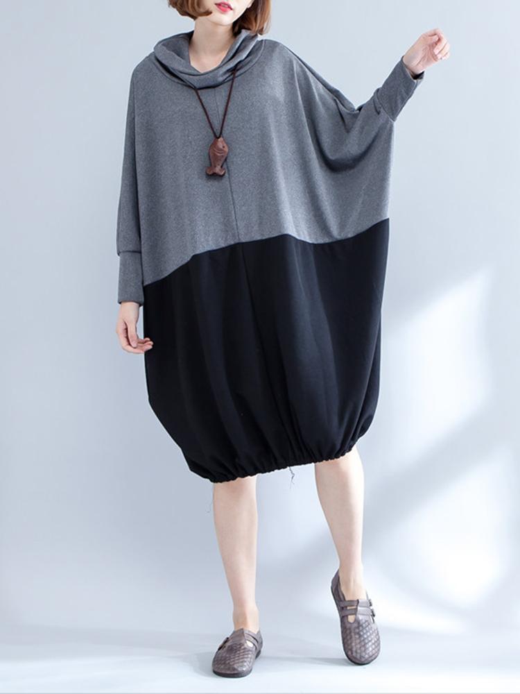 Plus Размер Женское Черный серый сплайсинг Толстовка Платье