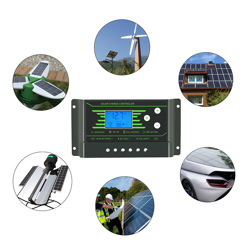 PWM 10/20/30A 12V/24V Auto Solar Charge Controller LCD Dispaly Battery Charge Solar Controller Dual USB Port 2.5A with Backlight