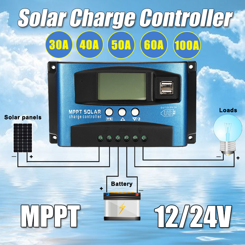 30/40/50/60/100A MPPT Solar Controller LCD Solar Charge Controller Accuracy Dual USB Solar Panel Battery Regulator 12