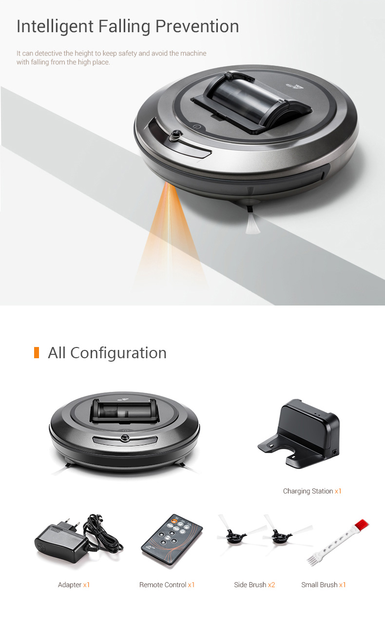 PUPPYOO WP615 Smart Robot Vacuum Cleaner with Intelligent Cleaning Route Cyclone+HEPA Double Filtration Automatic Back Charging 1000Pa 2600mAh