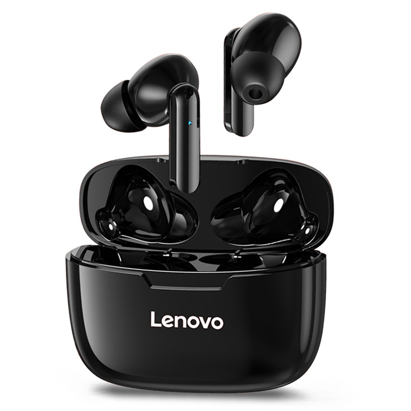 Lenovo XT90 TWS bluetooth 5.0 Earphone Low Latency HiFi Bass Waterproof Sport Gaming Headphones with Noise Cancelling Mic Type-C Charging – Black