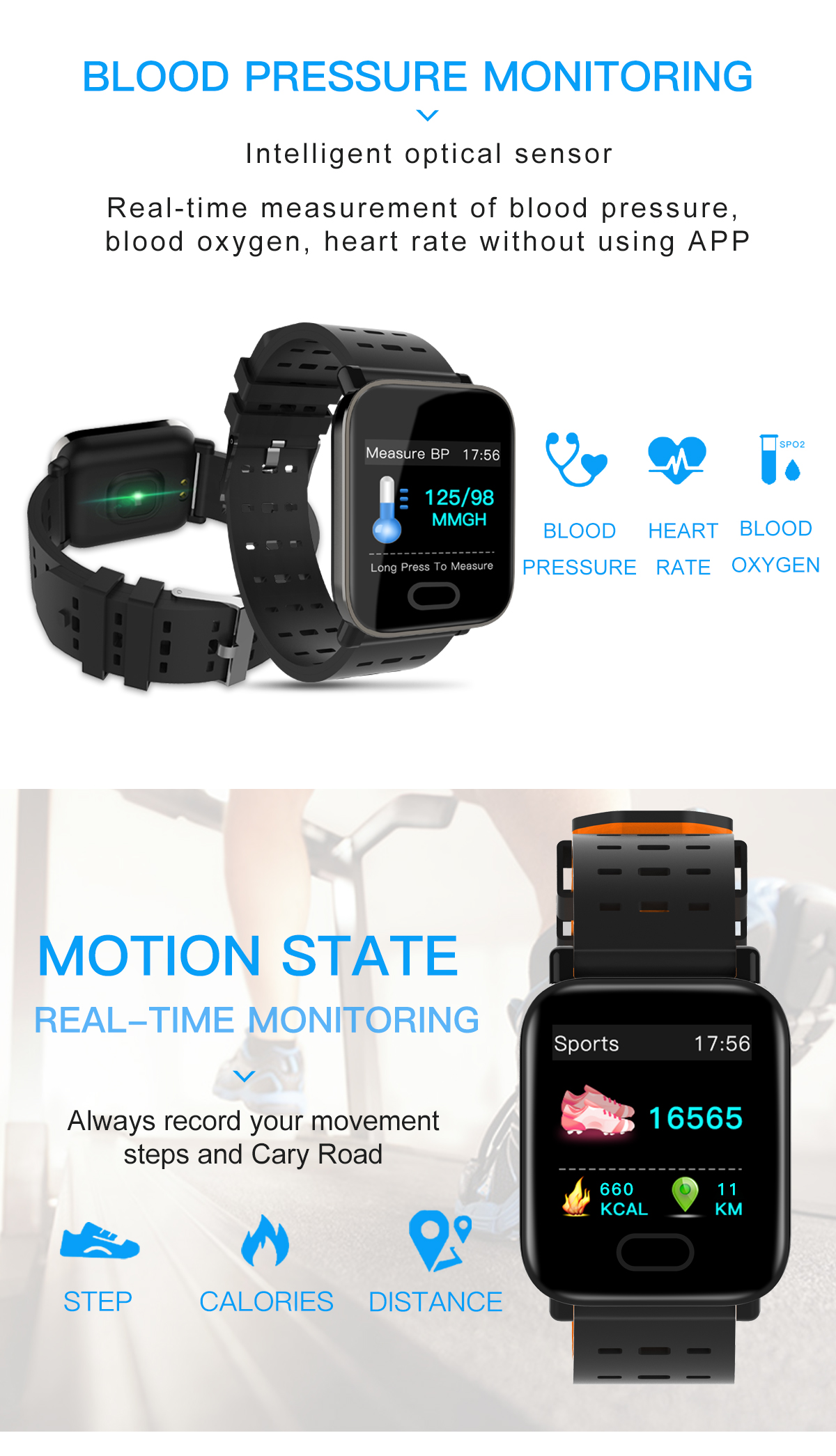 Blood Pressure Smart Watch and Heart Rate Monitor Oxygen Monitor