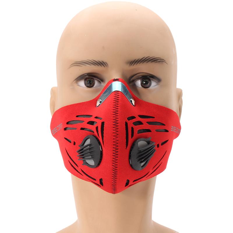 Filtre à air charbon actif antipoussière masque demi-visage vélo sport masque de formation en plein air masque