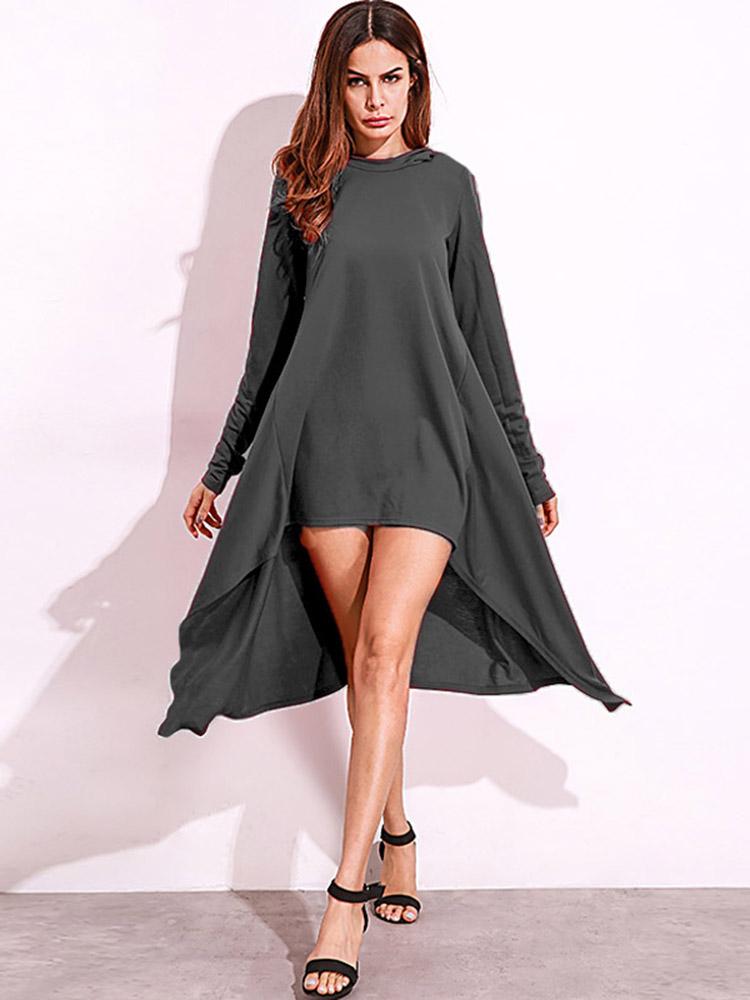 Casual Women Hooded Long Sleeve Pure Color Irregular Hem Mini Dress