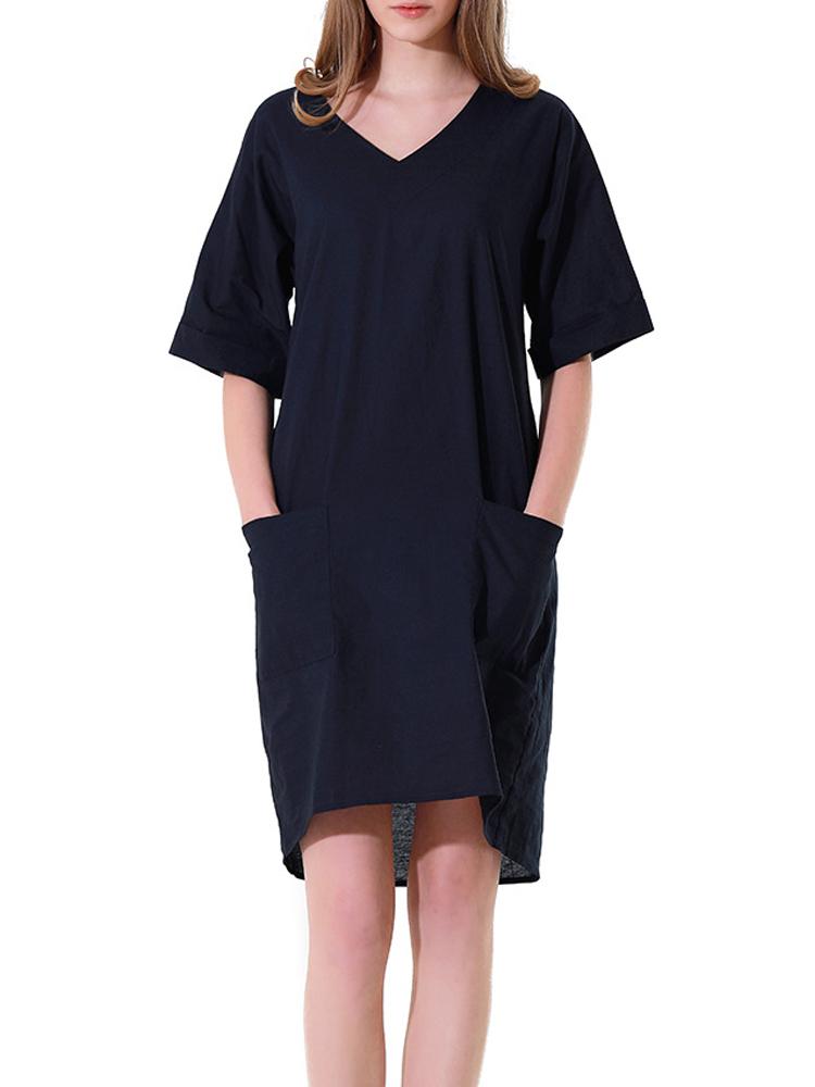 Women Casual V-neck Pocket Short Sleeve Dress