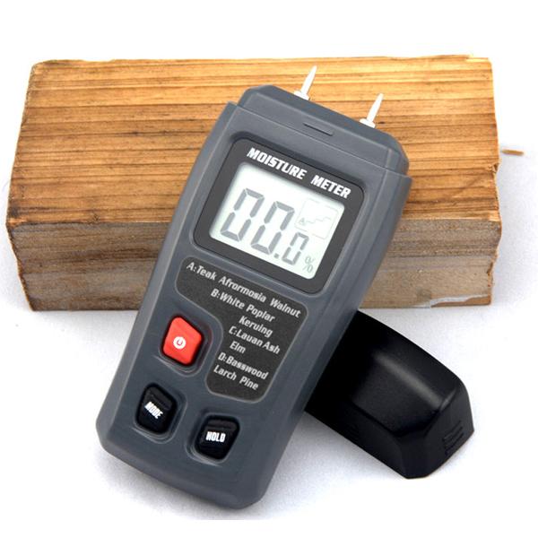 Цифровой ЖК-портативный 0 ~ 99.9% древесины влагомер неотъемлемыми штырьки автовыключение EMT01 б сторона