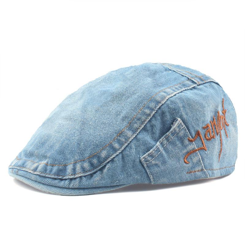 Leisure Washed Denim Adjustable Beret Hat Men Women Letter Embroidered Peaked Caps