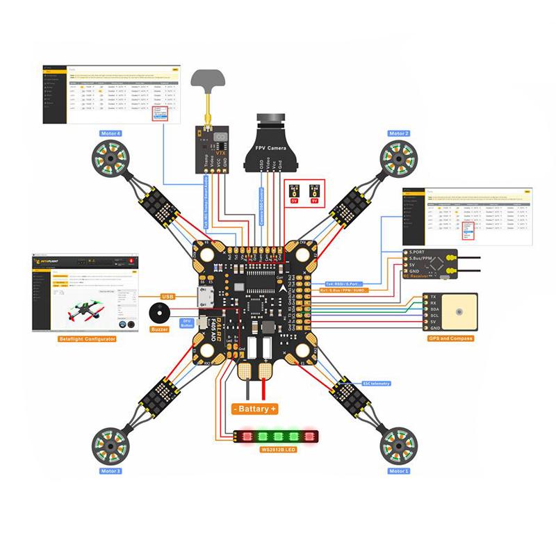DALRC F405 AIO Betaflight F4 Flight Controller MCU STM32F405 MPU6000 OSD  9V/1 5A 5V/2A BEC 200A PDB