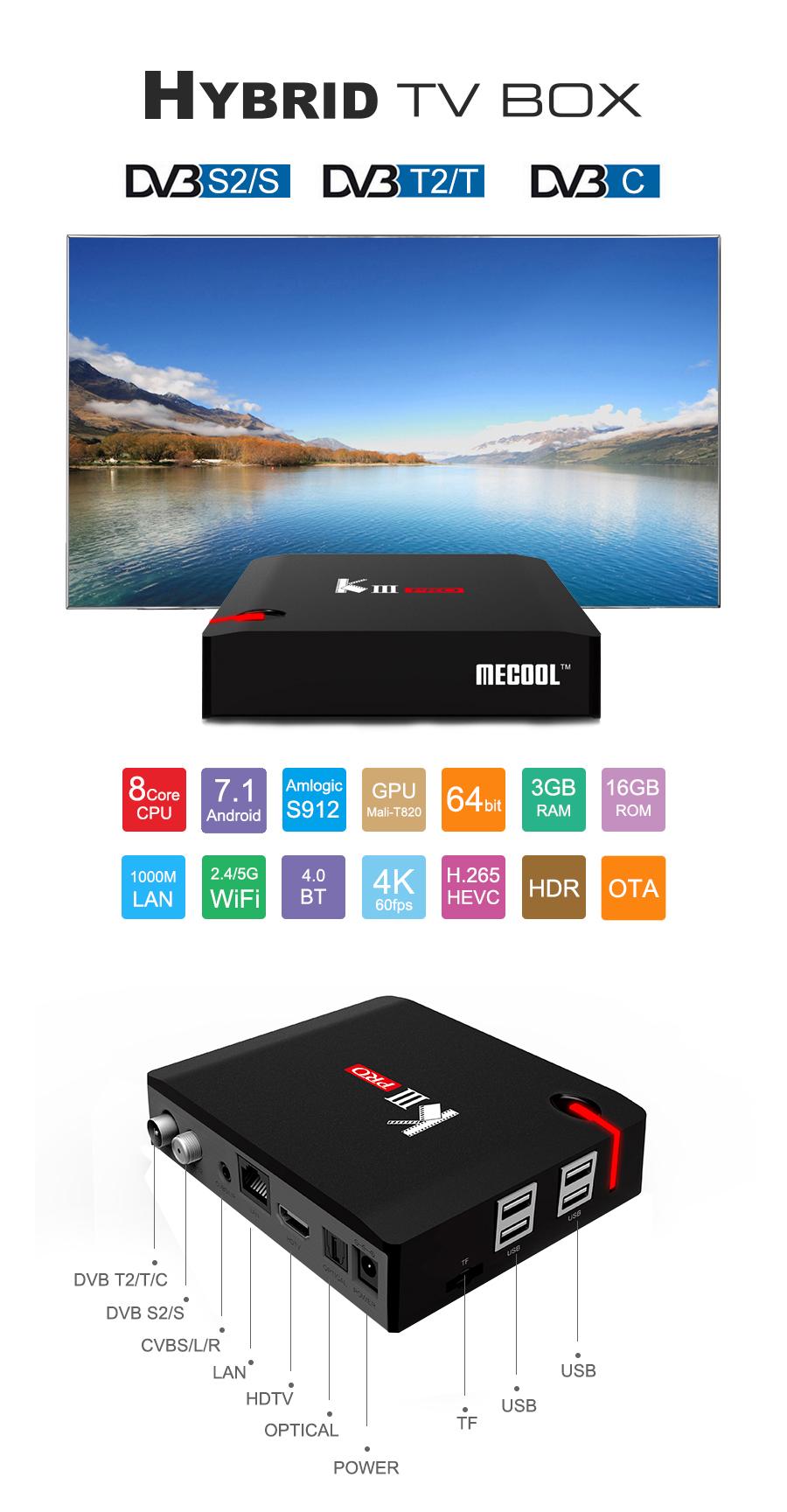 MECOOL KIII Pro Amlogic S912 3GB RAM 16GB ROM DVB-T2 DVB-S2 CCcam Newcam  Biss Key TV Box