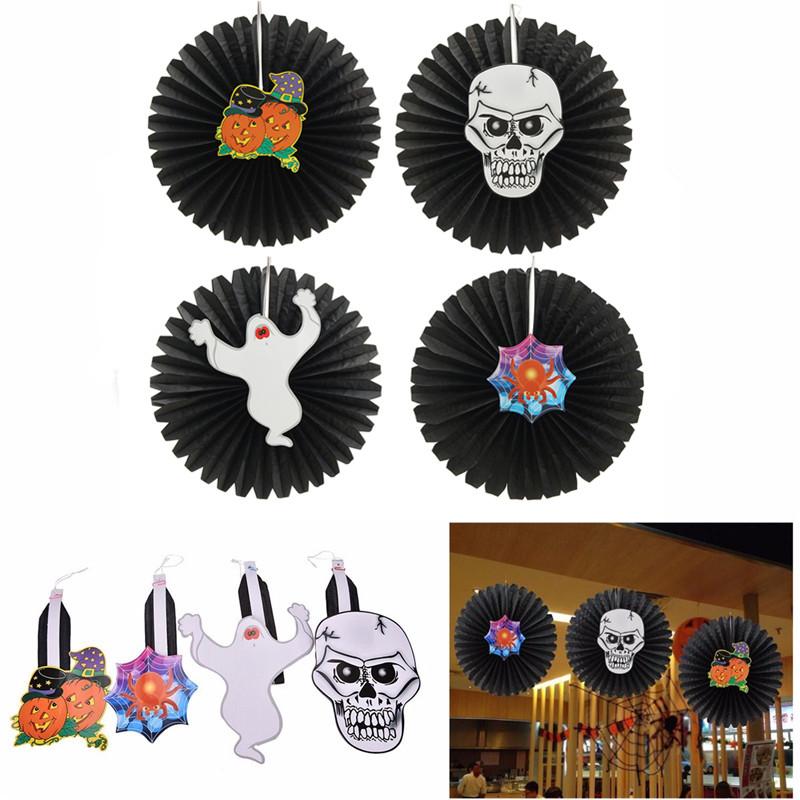 Хэллоуин бумаги вентилятора стене висит украшение партии декора дома подарки призрак тыквы