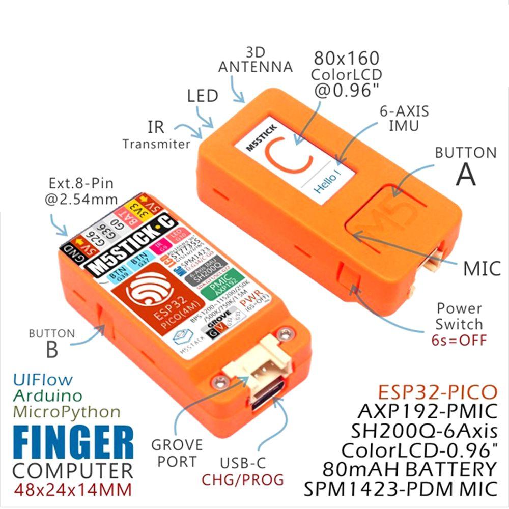M5Stack® M5StickC ESP32 PICO Color LCD Mini IoT Development Board Finger Computer with Watch Accessories
