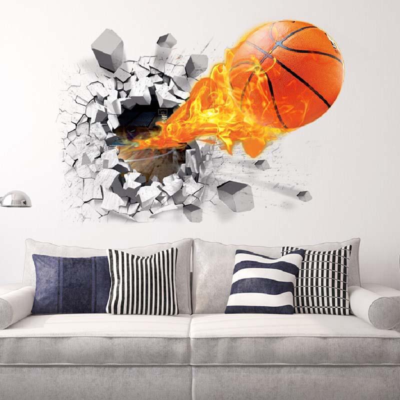 Мода3Dбаскетболстеныстикерзеленый плакат искусства наклейки Дети комнаты Домашнее украшение аксессуары Декор съемный Во