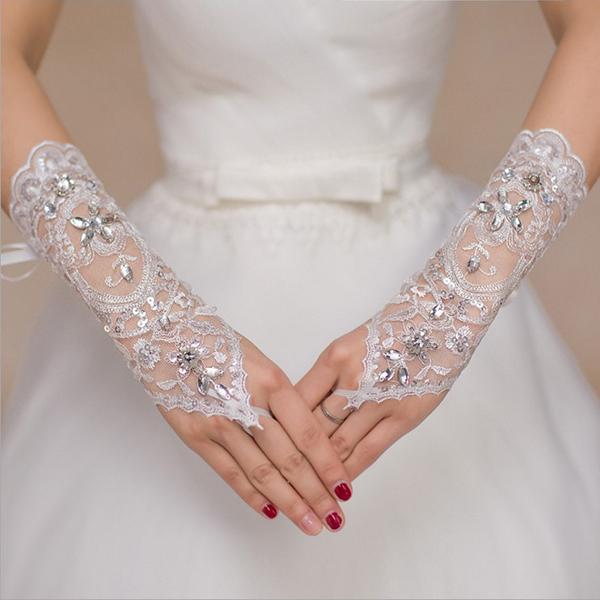 Женское Кружева с вышивкой Свадебное Платье Белая свадьба Перчатки