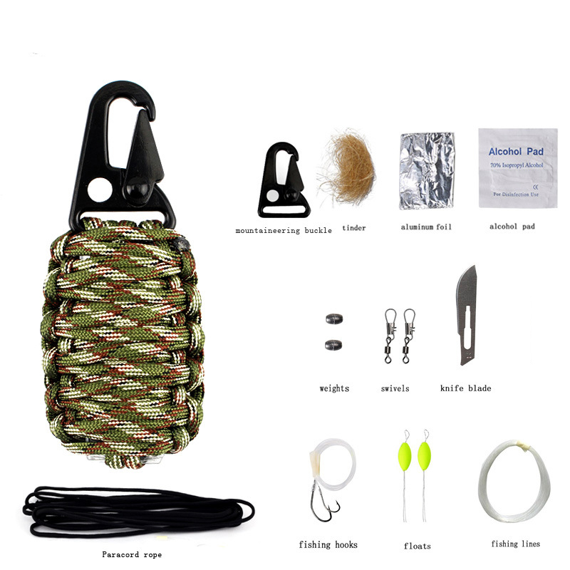 EDC Paracord Multifunction Survival Kit Rescue Gear Keychain with Fishing Tools
