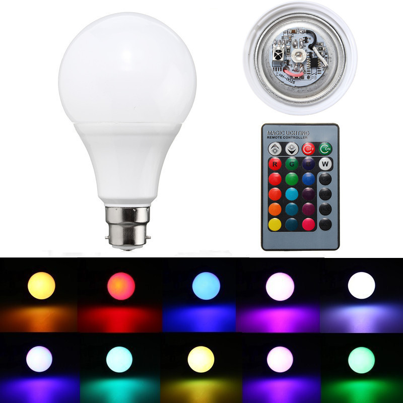 B22 5W Dimmable RGB Color Changing LED Light Lamp Bulb Remote Control AC85-265V