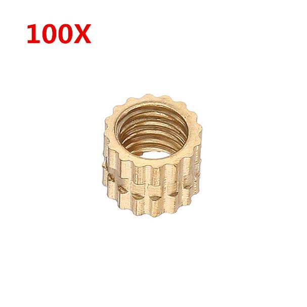 100Pcs M4 x 4 мм Латунные накидные гайки Внутренняя резьба круглой вставки Встроенные инжекционные формовочные гайки