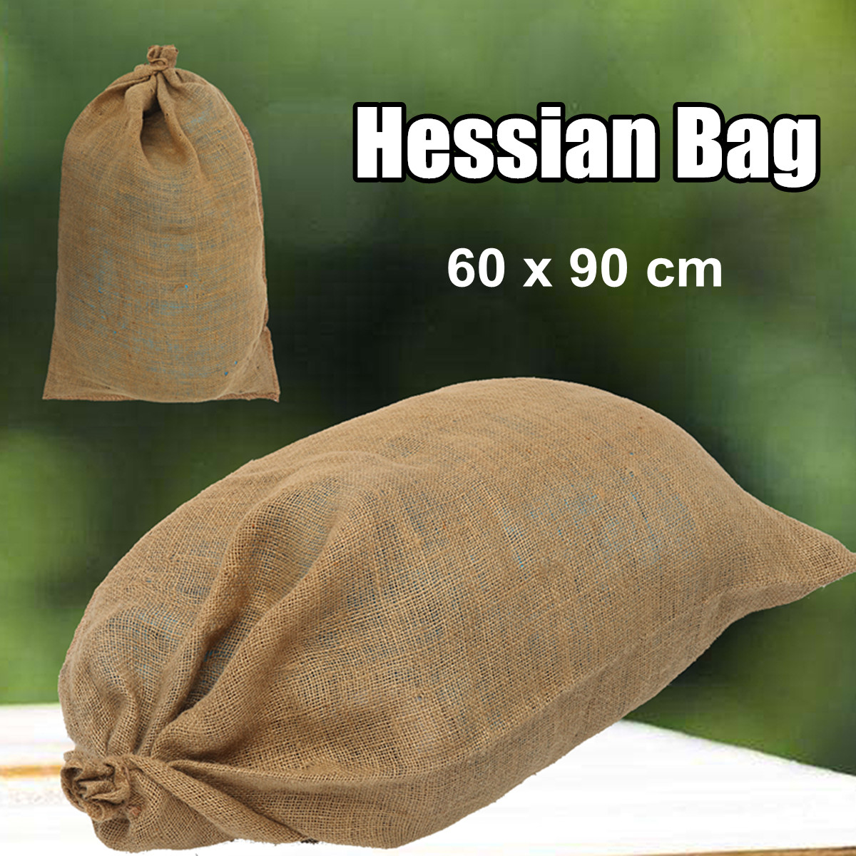 Large Hessian Jute Bag Grain Sack Sandbag Produce Kitchen Storage Bag  60x90CM