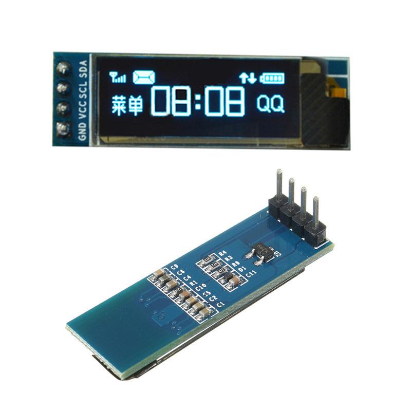 Geekcreit 0,91 дюймов 128x32 IIC I2C Синий OLED LCD Дисплей DIY Модуль Oled SSD1306 Микросхема драйвера постоянного тока 3,3 В 5V Для ПИК