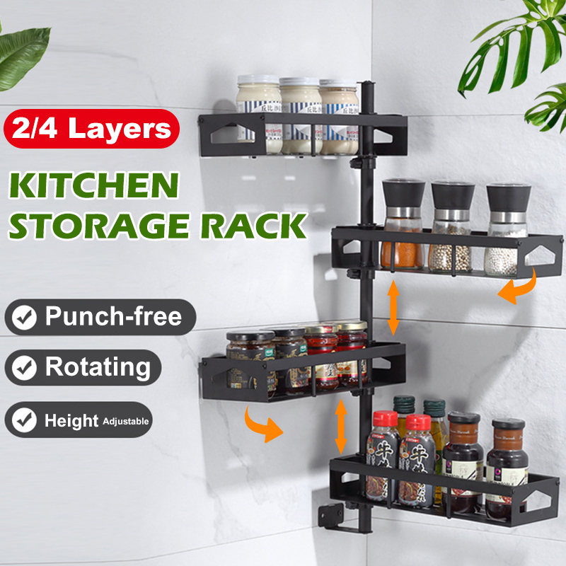 Jiexing JXE04-BK-SR 2/4 Layers Wall-mounted Rotating Spice Rack Punch-free Adjustable Height for Kitchen 1