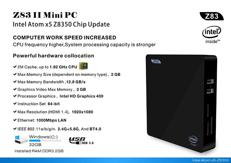 Z83II Mini PC 2GB DDR3 RAM 32G Intel Atom x5-Z8300 Processor Windows